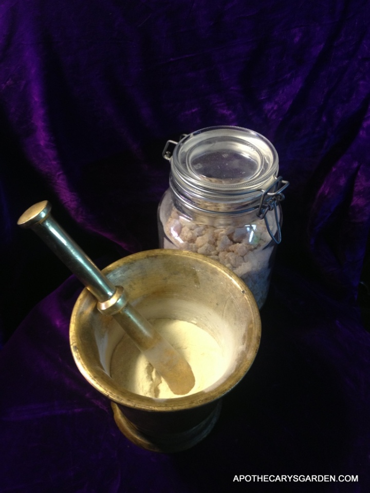 Grinding Frankincense, Myrrh and other oleoresins