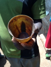 Etched Ox horn cup. One of two that have been used in this Civet farmers family for many generations. One is used to collect and the other to clean the fresh paste.