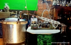 Distillation of fresh Spruce sap with pressure cooker pot-still and Allihn condenser.