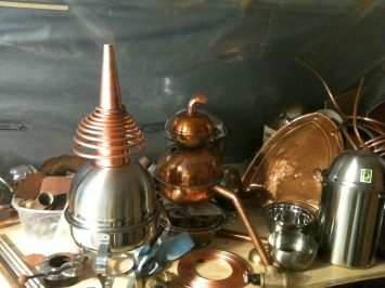 DIY Distillation-Copper and found object distillation trains