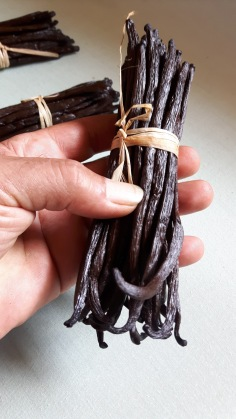 Cured Vanilla beans are traditionally tied in bundles with Rafia.